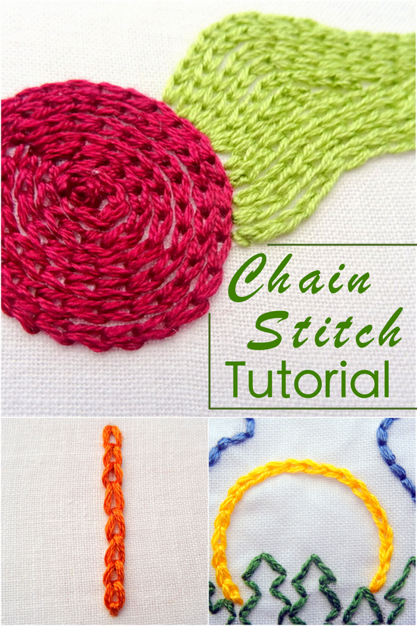 Chain Stitch Tutorial ~ Wanderingthreadsembroidery.com