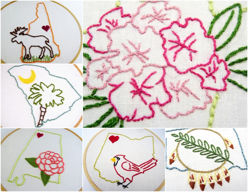 50 States 50 Embroidery Patterns Wandering Threads Embroidery